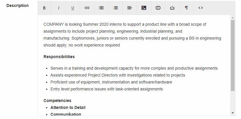 evergreen internship posting